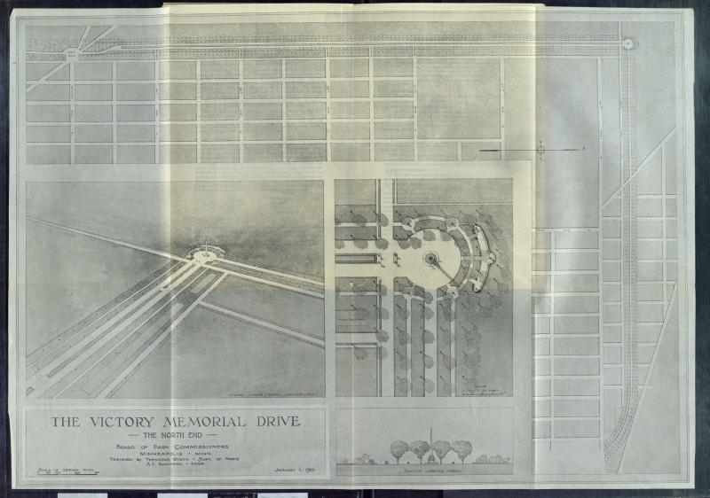1919 map of the North End of Victory Memorial Drive