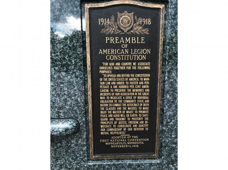 Dedicatory plaque with address from the American Legion at Victory Memorial Drive
