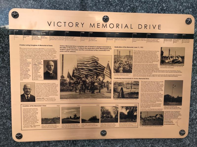 Plaque detailing the history of Victory Memorial Drive at the park's North Entrance