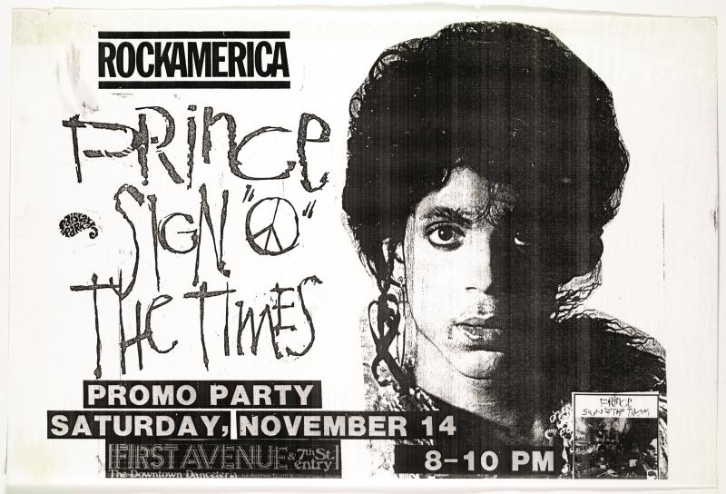 "Poster advertising Sign ""O"" The Times promo party at First Avenue, November 14, 1986"