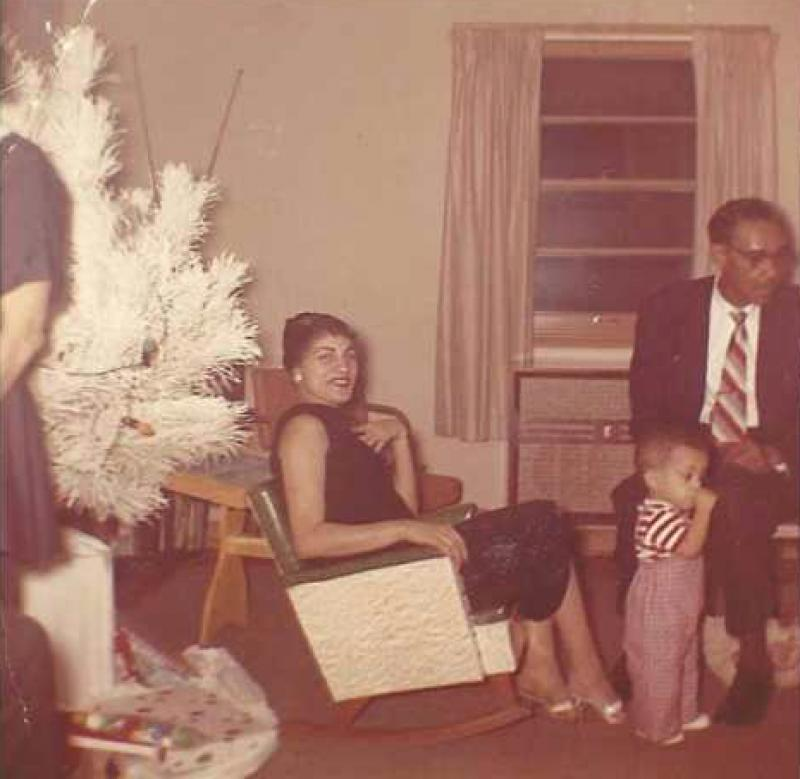 Prince as a toddler with his Aunt Edna Mae and his grandfather Frank Shaw, circa 1959