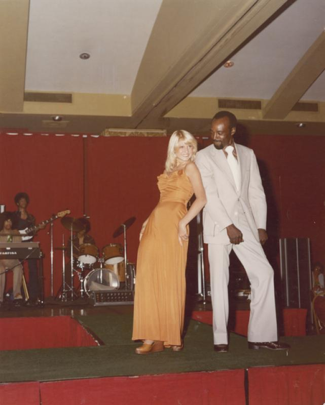 The band Grand Central performing at a fashion show, Minneapolis, mid-1970s