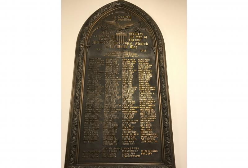 Hennepin Ave Methodist Episcopal Church World War I Monument