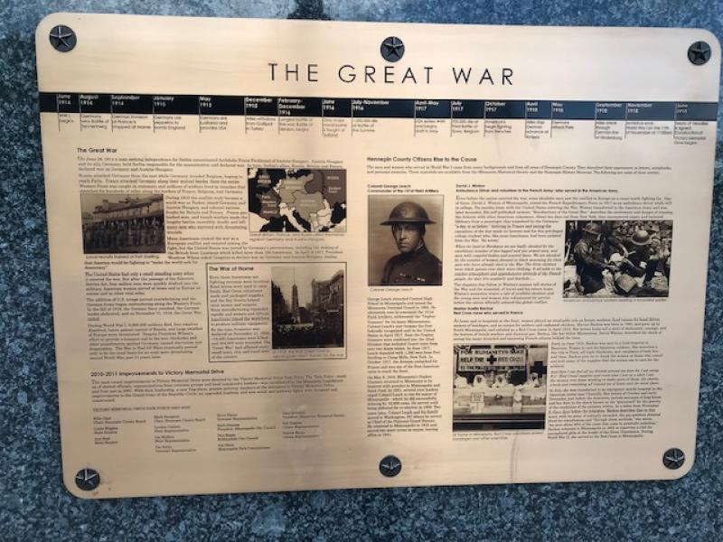 Plaque detailing Minnesota's experience in World War I at the North Entrance to Victory Memorial Drive