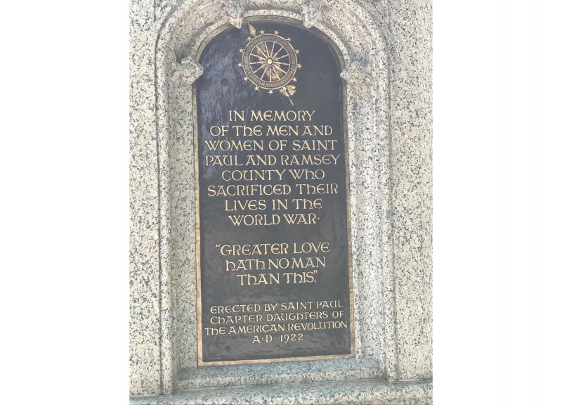 Dedicatory inscription on the Daughters of the American Revolution World War I Memorial at Shadow Falls Park