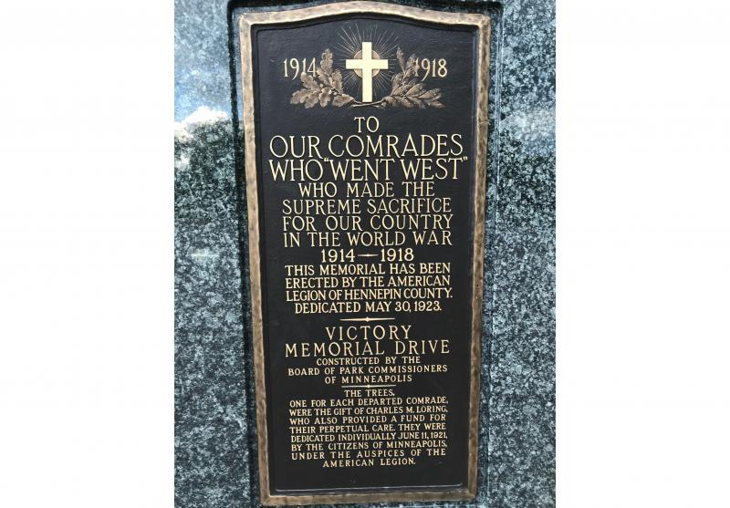 Dedicatory plaque to the Gold Star veterans and nurses of Hennepin County from the Minneapolis Park and Recreation Board
