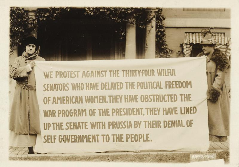 Bertha Moller, left, and Bertha Arnold protest in front of the Senate Office Building in Washington, D.C., ca. 1917.