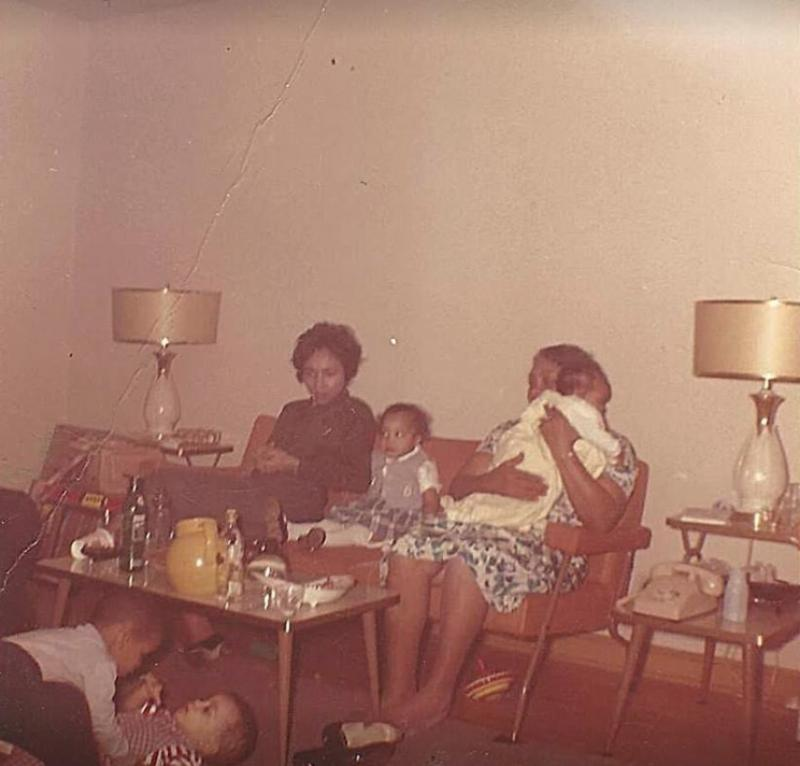 Prince wrestling with his cousin, Charles Smith, who was later a band mate and musical collaborator, circa 1959
