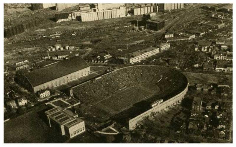 Aerial View of Memorial Stadium.