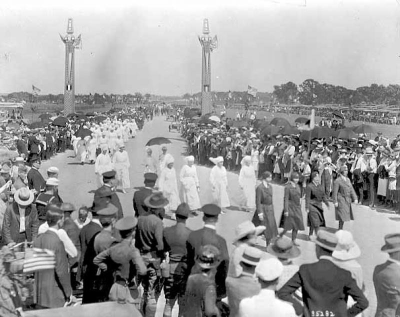 Nurses marching in the Parade to Victory Memorial Drive's Dedication