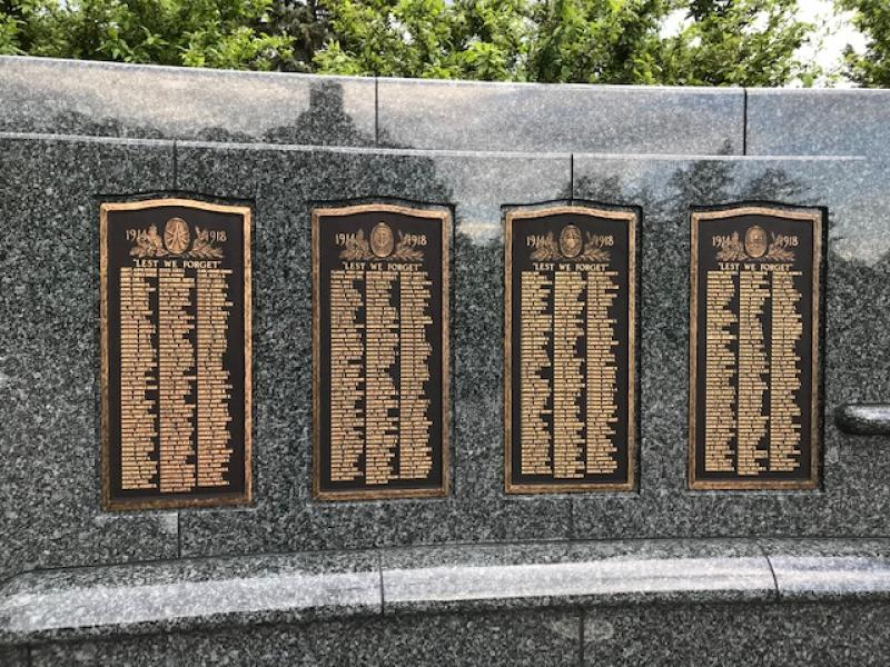 Plaques listing the Gold Star veterans and nurses of Hennepin County at Victory Memorial Drive