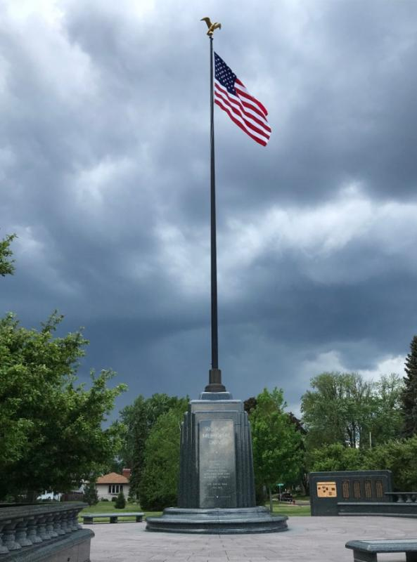 American Flag and Monument to Victory Memorial Drive at the park's North Entrance