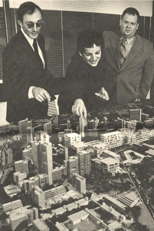Gloria Segal and Keith Heller with model of New Town in Town, 1973