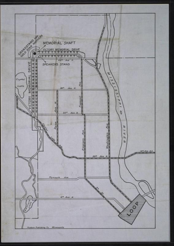 Map of Victory Memorial Drive from its 1921 Dedication Ceremony