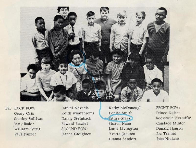 Prince Nelson (at bottom left), age ten, in his 5th grade yearbook photo from John Hay Elementary School, 1968-1969