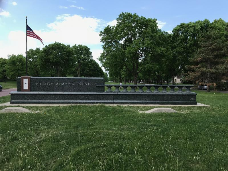 Marker to Victory Memorial Drive at the park's South Entrance