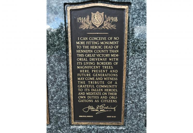 Dedicatory plaque with address from General John J. Pershing, Commander of the Expeditionary Forces in World War I, at Victory Memorial Drive