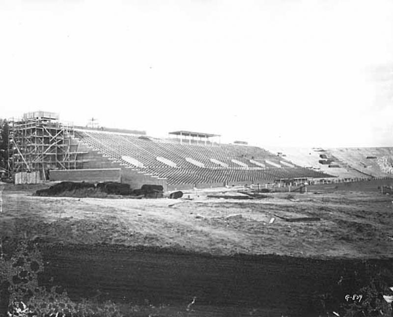 Construction on the Bleachers at Memorial Stadium.
