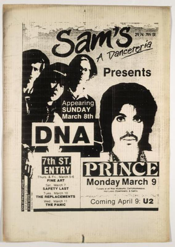 Poster advertising Prince&#039;s first performance at Sam&#039;s in 1981. Note the teasers for other acts. The Replacements performed one night after Prince. And one month later, U2 took the stage at the venue that became First Avenue. &lt;br /&gt;<br />