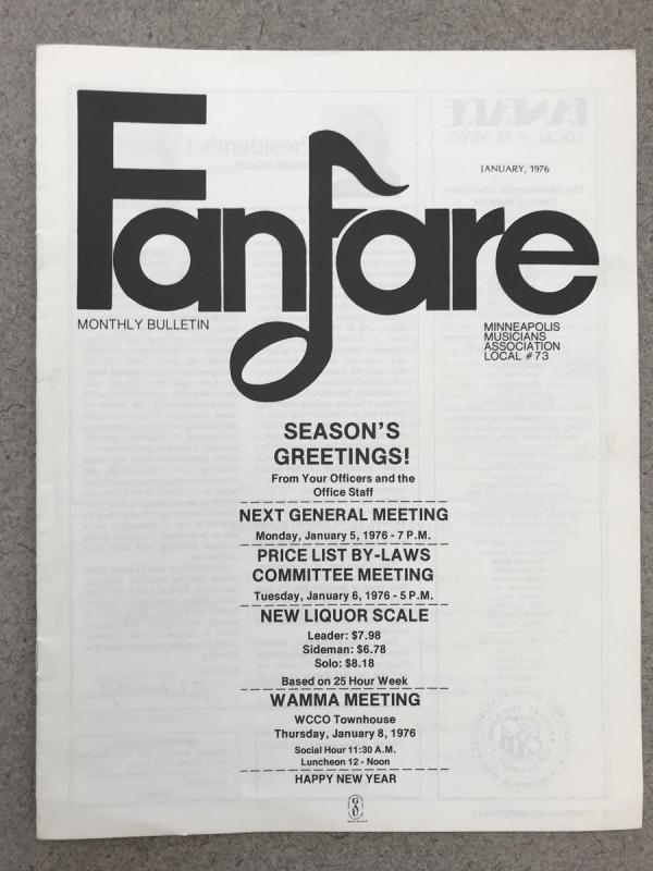 Cover, Fanfare Monthly Bulletin, January 1976