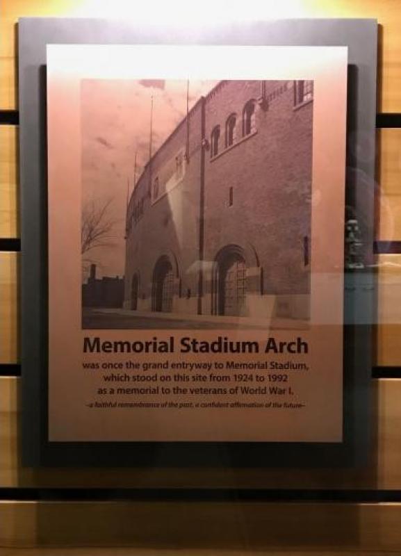 Display Placard for Memorial Stadium Arch.