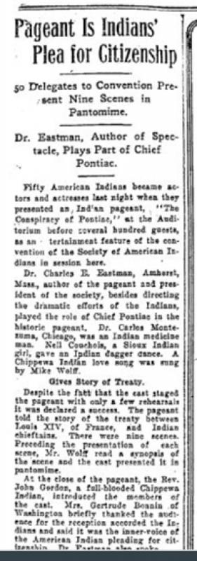 "Newspaper article: ""Pageant Is Indians�&#8482; Plea For Citizenship,"" <em>Minneapolis Morning Tribune</em>, Oct.4th, 1919, p.17."