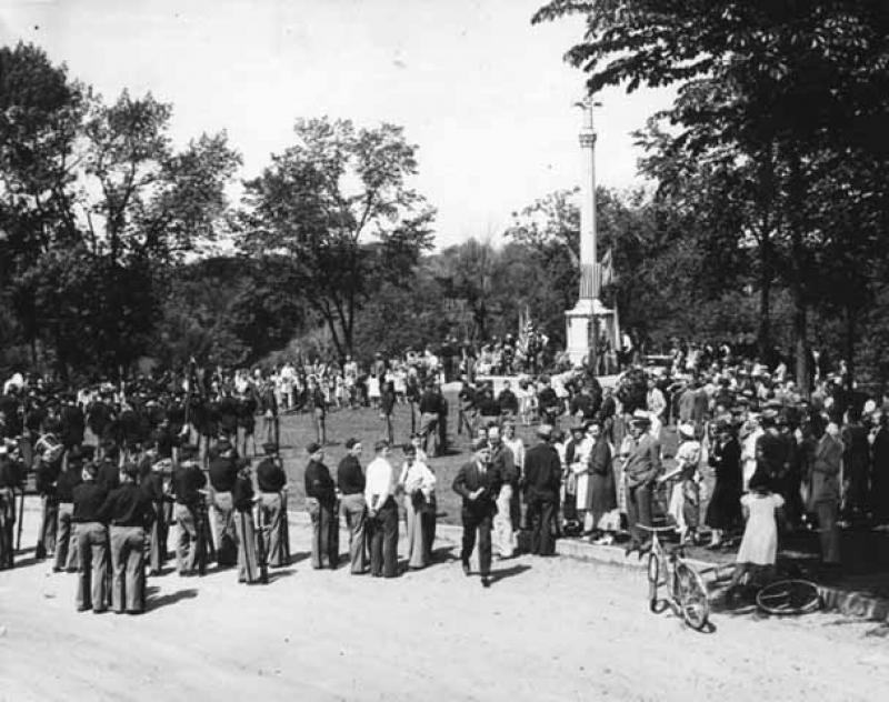 Commemorative ceremony at Shadow Falls Park