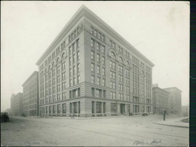 Newly constructed Wyman, Partridge and Company Building at 4th Street and North 1st Avenue, 1890s.