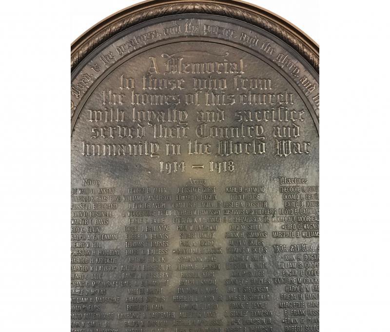 Westminster Presbyterian Church World War I Monument Inscription