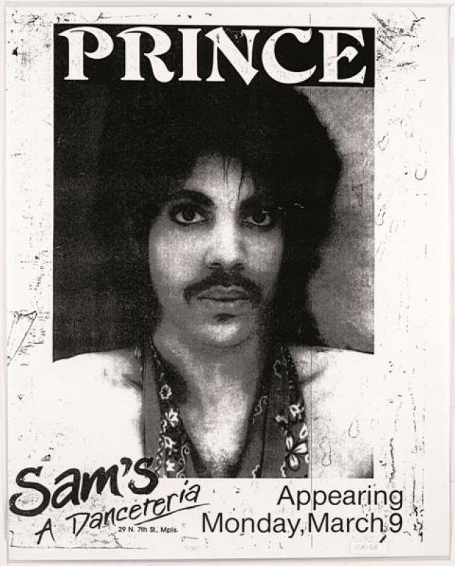 Poster advertising Prince's first performance at Sam's in 1981. The nightclub would become First Avenue later that year.