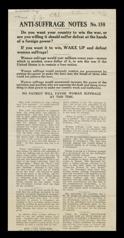 Anti-Suffrage Pamphlet, June 12, 1917