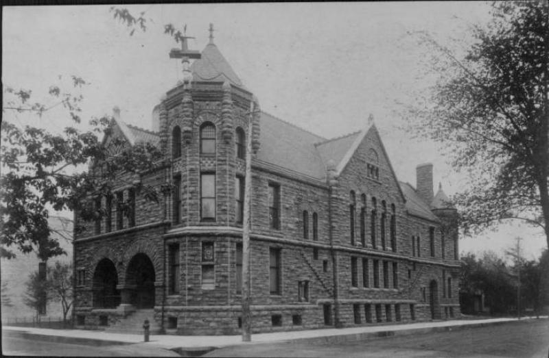First Unitarian Church, corner of 8th St and Mary Place, 801 La Salle, Minneapolis. N.d.<br /><br />
