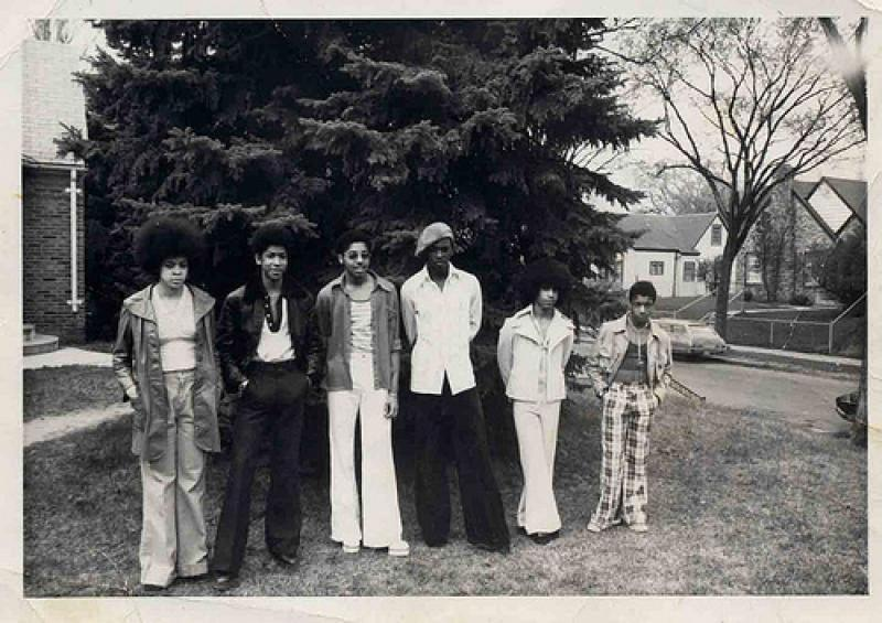 The band Grand Central outside Andr�© Cymone�™s home, 1975 or 1976