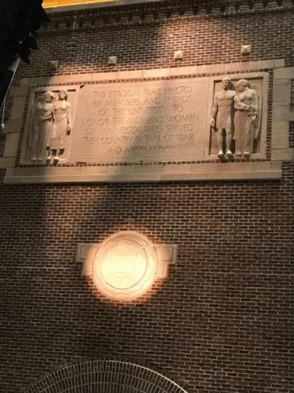 University of Minnesota School Crest and Dedicatory Inscription on Memorial Stadium Arch.