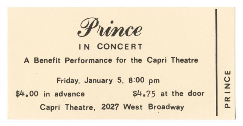 Ticket to Prince's first concert as a Warner Bros. recording artist, 1979