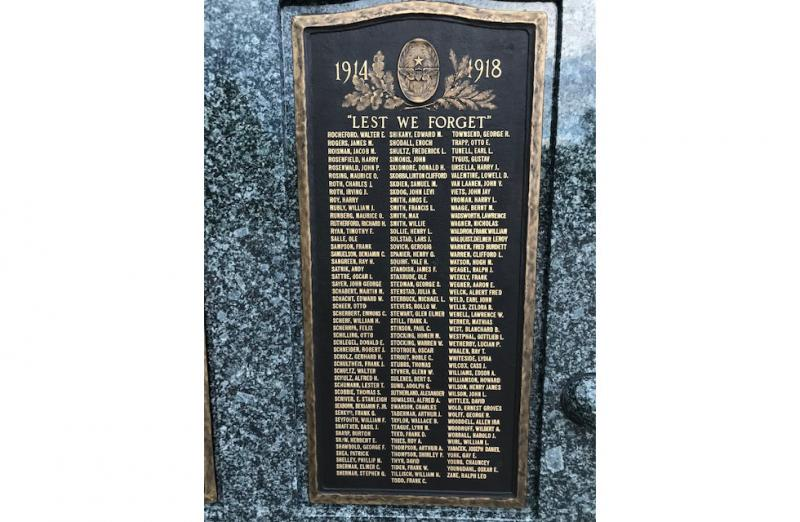Plaque listing Hennepin County Gold Star veterans and nurses at Victory Memorial Drive