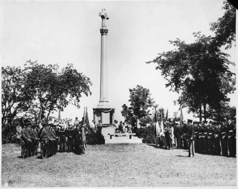 Commemorative ceremony at the Daughters of the American Revolution World War I Memorial in Shadow Falls Park