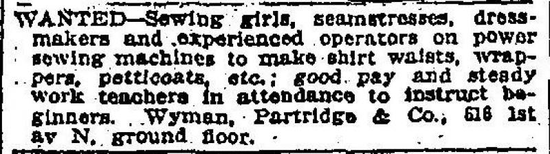 Help Wanted ad, <em>Minneapolis Tribune</em>, Feb. 11, 1907, p. 6
