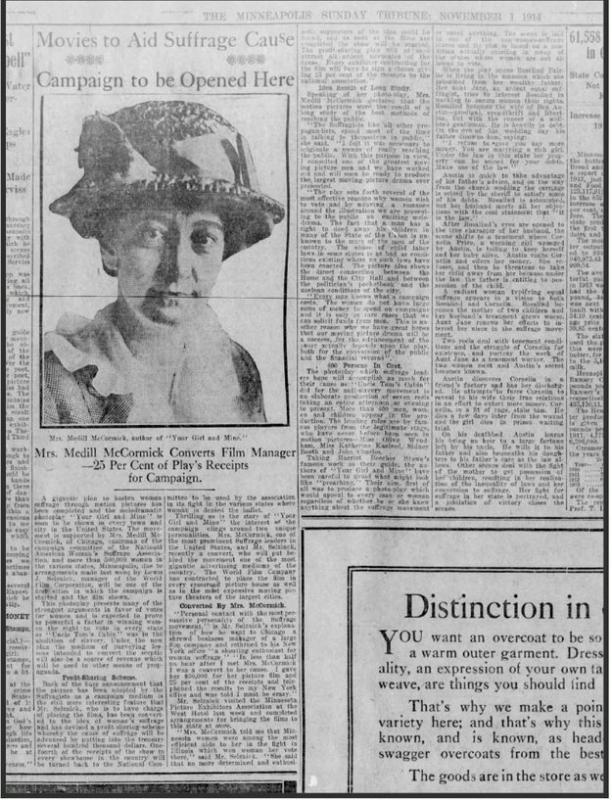 """""""Movies to Aid Suffrage Cause,"""" <em>Minneapolis Sunday Tribun</em>e, Nov. 1, 1914"""