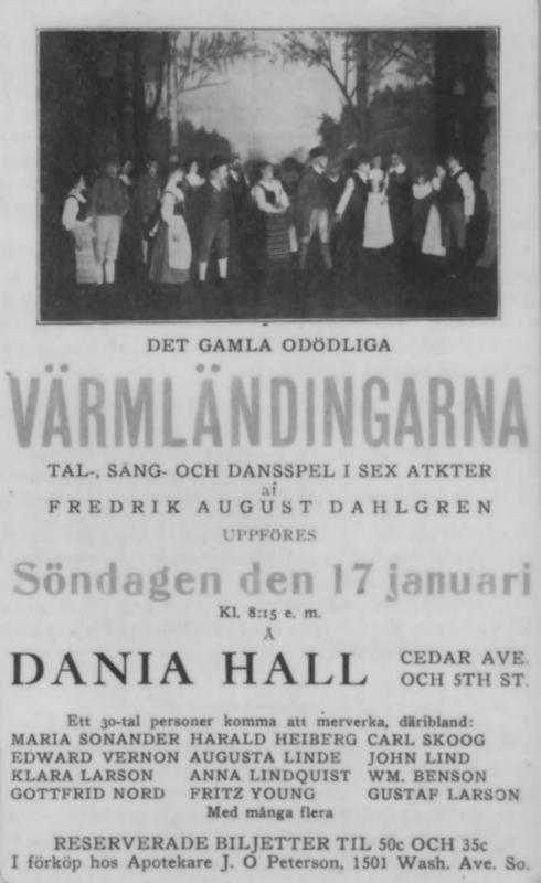 Poster for Varmlandingarna at Dania Hall